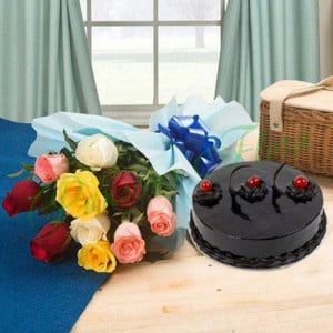 Chocolate Cake and Roses - Online Flower Delivery In Kurukshetra