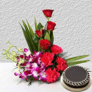 Corp Flower with Cake - Send Flowers to Dehradun