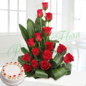Corp Flower with Pineapple Cake - Online Flower Delivery In Kurukshetra