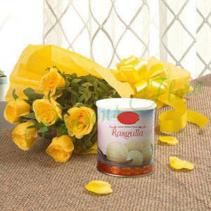 Fathers Day Spl Yellow Roses N Rasgulla - Wedding Anniversary Bouquet with Cake Delivery