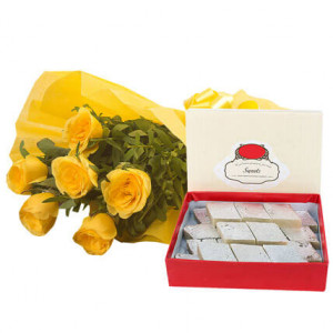 Fathers Day Yellow Roses N Kaju Katli - Online Flower Delivery In Kurukshetra