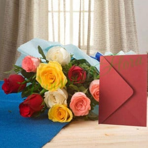 Mix Roses N Greeting Card - online flowers delivery in dera bassi