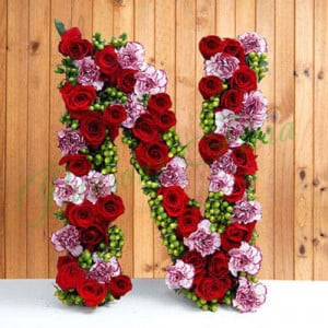 Personal Alphabet Budding Love - online flowers delivery in dera bassi