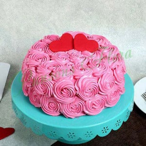 Rose Cream Valentine Cake Vanilla Eggless - Cake Delivery in Mumbai