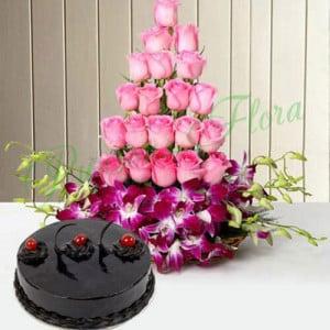 Roses And Orchids Basket With Cake - Cake Delivery in Mumbai