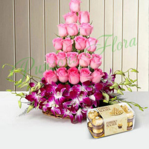 Roses And Orchids Basket With Rocher - Flowers and Cake Delivery