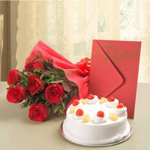 Roses N Cake Hamper - Send Cakes to Sonipat