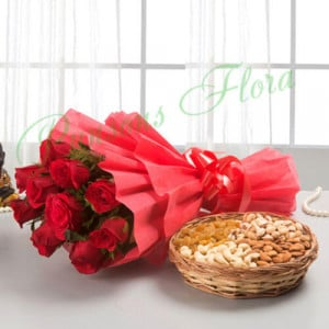 Roses with dry fruits - Wedding Anniversary Bouquet with Cake Delivery