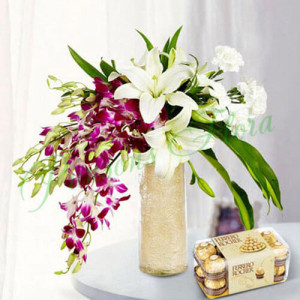 Royal Floral Arrangement With Rocher - Birthday Gifts for Her