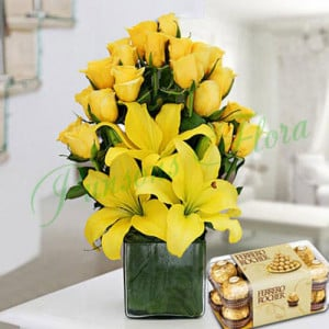 Sunshine Vase Arrangement With Rocher - Birthday Gifts for Her