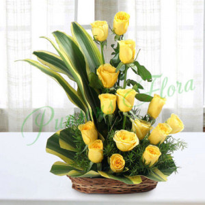 Sunshine Yellow Roses Bouquet - Send Flowers to Dehradun