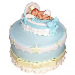 Baby In The Crib Fondant Cake - Birthday Cake Online Delivery
