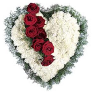 Heart Carnations - Send Heart Shape Flower Arrangement Online