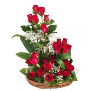 24 Red Roses In Around Basket