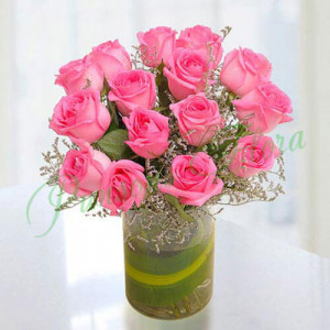15 Pink Roses Vase Arrangement - online flowers delivery in dera bassi