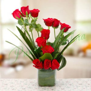Beautiful Red Roses Vase Arrangement - online flowers delivery in dera bassi