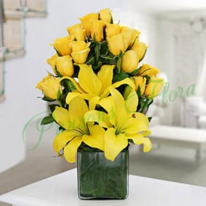 Sunshine Vase Arrangement - online flowers delivery in dera bassi