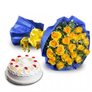 Golden Moments - Wedding Anniversary Bouquet with Cake Delivery