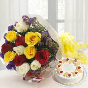 12 Mix Roses with Cake - Online Flower Delivery In Kurukshetra