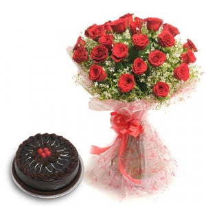 Roses N Chocolaty Love - Wedding Anniversary Bouquet with Cake Delivery