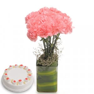 Pink Carnival Flowers - Wedding Anniversary Bouquet with Cake Delivery