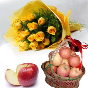 Mom Blessing - Flowers with fresh fruits online