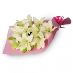 My Angel 6 White Lilies - Send Valentine Gifts for Her