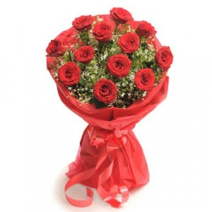 12 Red Roses - Send Flowers to Amreli Online