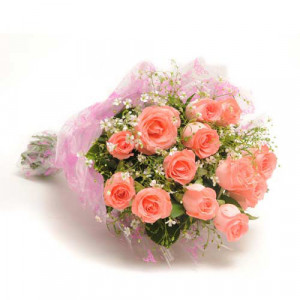 12 Baby Pink Roses - Send Flowers to Amreli Online