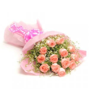 Fresh Blush 12 Pink Roses - Send Valentine Gifts for Wife