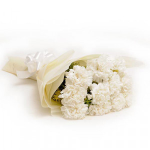 12 White Carnations - Send Valentine Gifts for Wife
