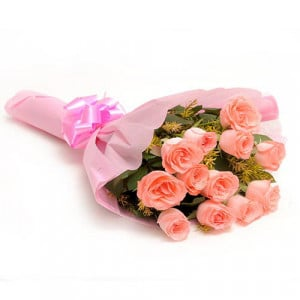 12 Baby Pink N Roses - Send Flowers to Amreli Online