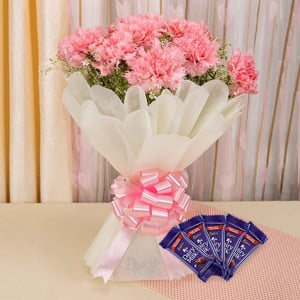 Carnations Love Combo - Wedding Anniversary Bouquet with Cake Delivery