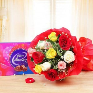 Celebrations with Roses - Wedding Anniversary Bouquet with Cake Delivery