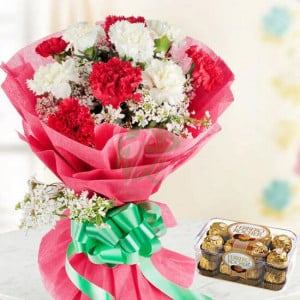 Chocolaty Red N White - online flowers delivery in dera bassi