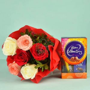 Colourful Roses Bouquet N Cadbury Celebrations - online flowers delivery in dera bassi