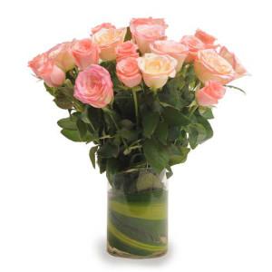 Pink Roses N Vase - Rose Day Gifts Online