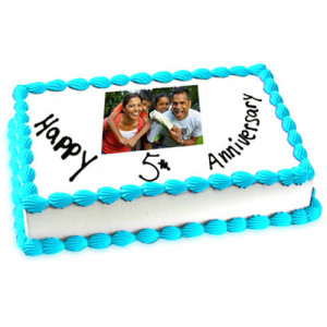 5th Anniversary Photo Cake 1kg - Send Personalised Photo Cakes Online