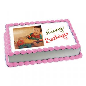 1kg Photo Cake Butterscotch Eggless - Birthday Cake Online Delivery - Send Personalised Photo Cakes Online