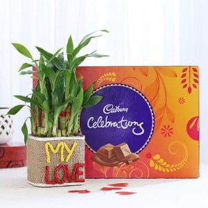 2 Layer Lucky Bamboo In My Love Vase With Cadbury Celebrations - Online Gift Ideas