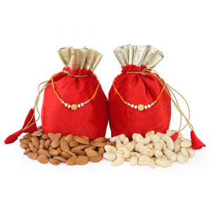 2 Dry Fruits Potli Bags - Rakhi for Brother Online