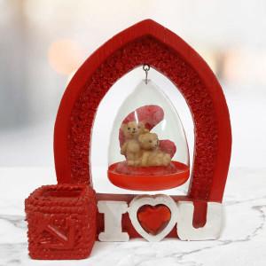 Cute Romantic ILU Hanging Teddy Bears