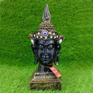 Crown Buddha Black Head Statue