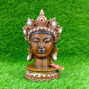 Crown Buddha Brown Head Statue