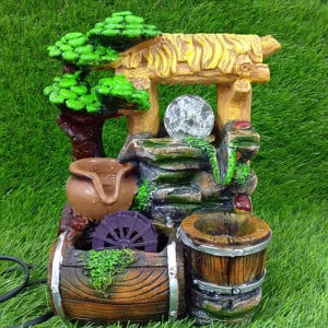 Brown & Green Water Fountain Showpiece