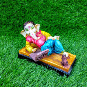 Ganesha Working With Laptop Idol Decorative Showpiece - Online Gift Ideas