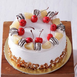 Pineapple Cake with Pineapple & Cherry Toppings