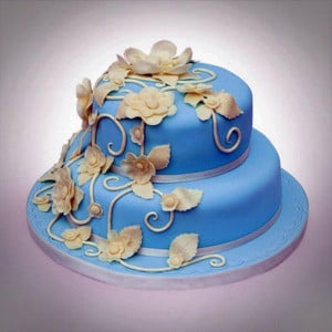 2 Tier Flowery Bud On Vanilla Cake - Send Wedding Cakes Online