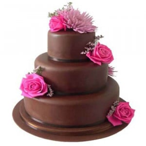 Multi Layer Flower Vanilla Cake - Send Wedding Cakes Online
