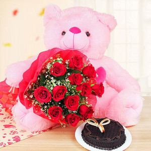 2 Feet Teddy and 12 Red Roses Bunch with Half Kg Truffle Chocolate Cake